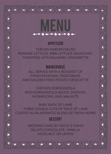 Photo Fairytale Wedding Menus