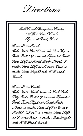 The Formal Ticket Direction Cards