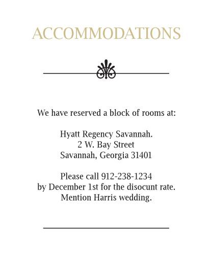 Glamorous Confetti Accommodation Cards