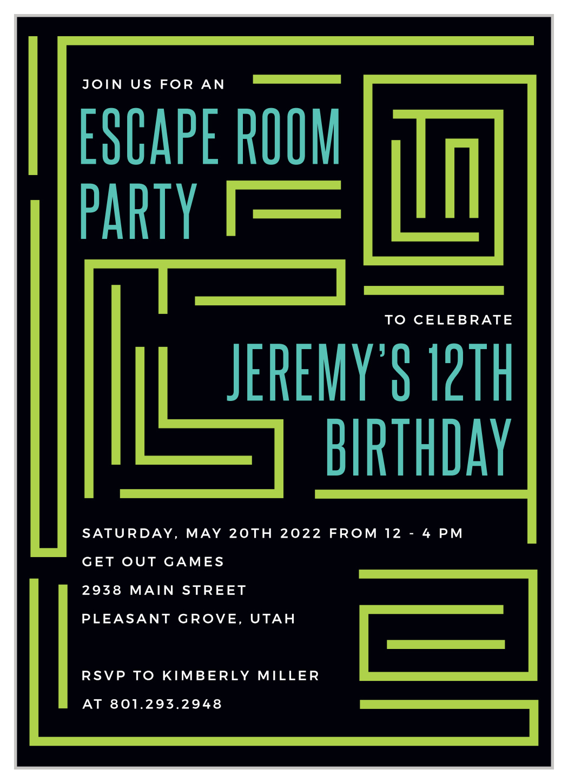 Escape Room Children S Birthday Invitations By Basic Invite