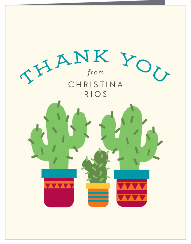 Cute Cactus Cinco de Mayo Fiesta Baby Shower or Birthday Thank You Card Flat /& Tent Fold Printable Cactus Thank You Card