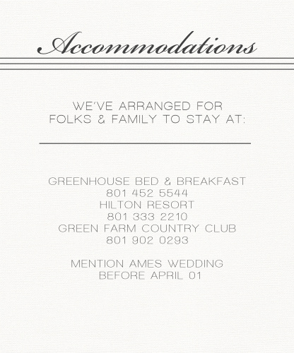 Simple Elegant Accommodation Cards