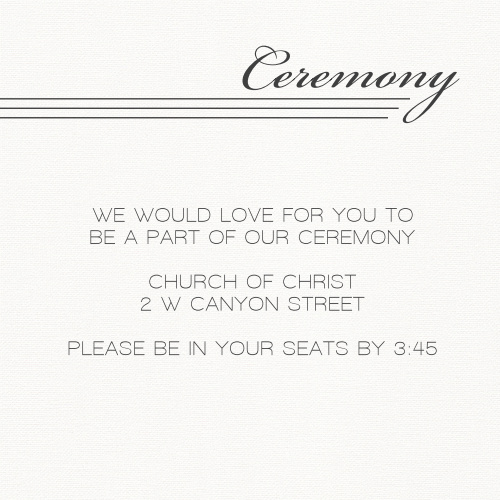 Simple Elegant Ceremony Cards