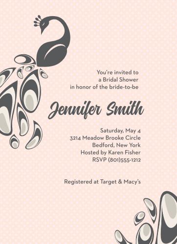 peacock bridal shower invitations