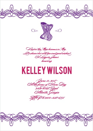 Lingerie Bridal Shower Invitations Match Your Color Style Free