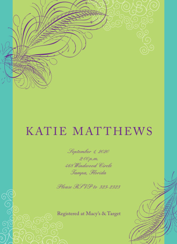 falling feather bridal shower invitations
