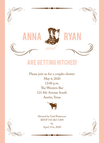 c1aee35420d Western Bridal Shower Invitations - Match Your Color   Style Free!