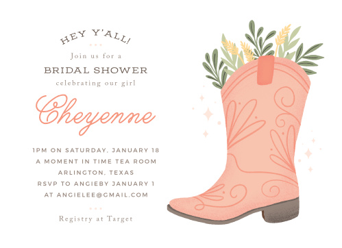 hey yall bridal shower invitations