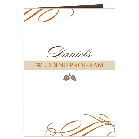 Elegant Fall Scrolls Wedding Program