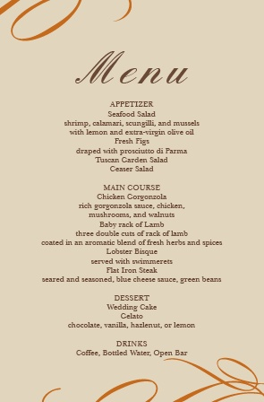 The Elegant Fall Scrolls Wedding Menu