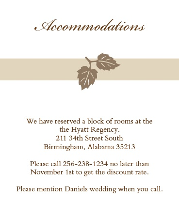 Elegant Fall Scrolls Accommodation Cards