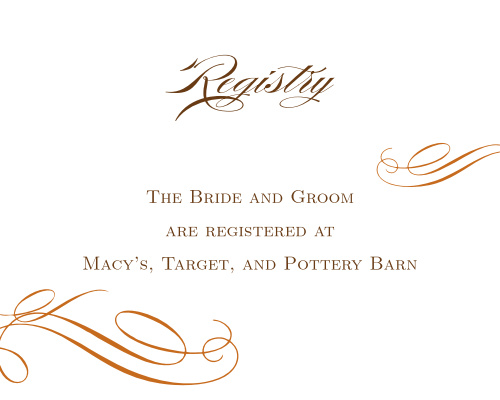 Elegant Fall Scrolls Registry Cards