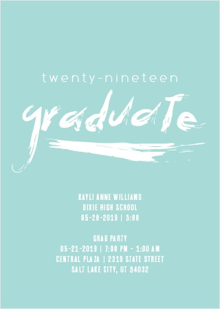 paintbrush lettering graduation party invitations