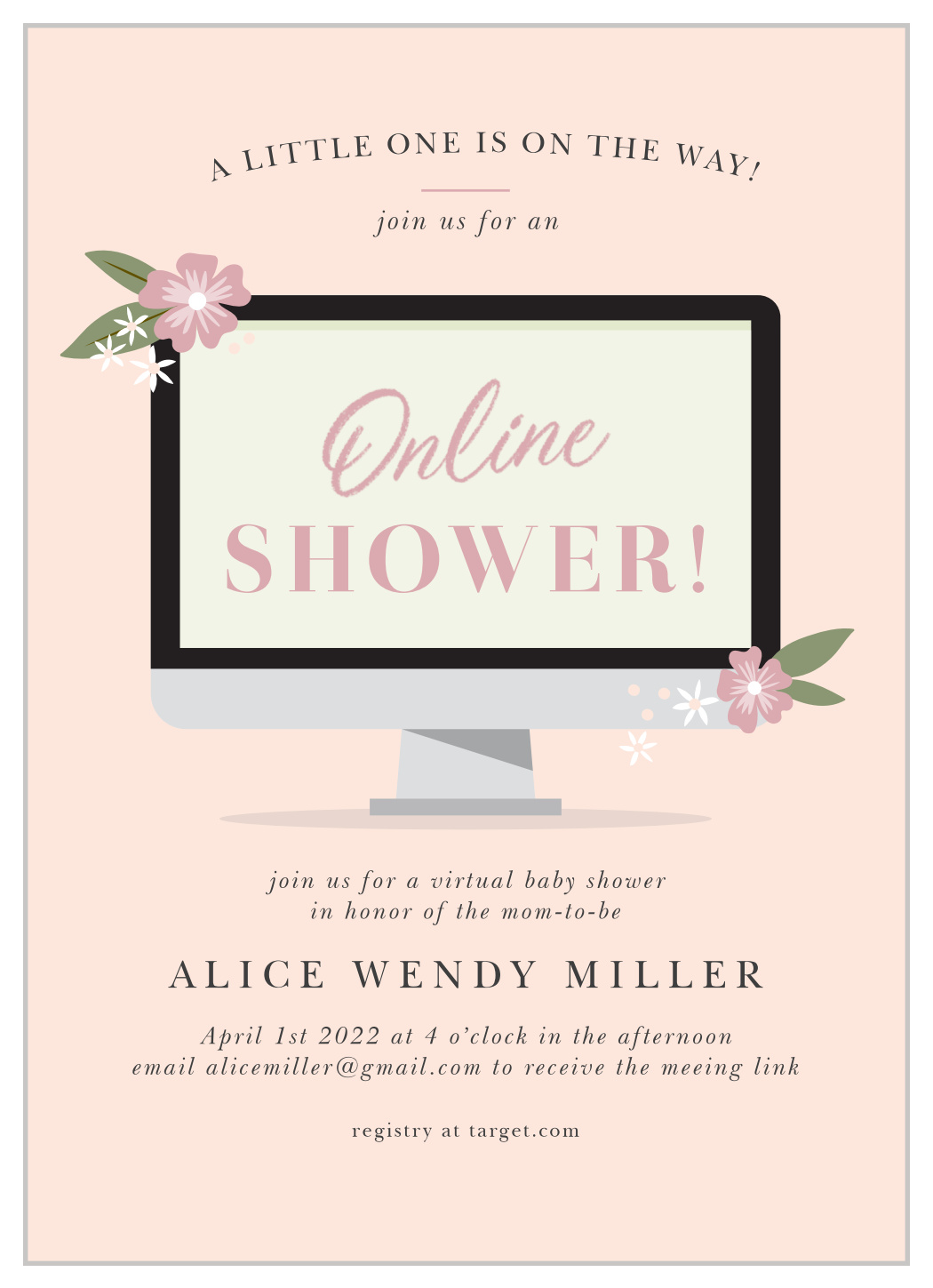 Online Computer Long Distance Baby Shower Invitations by ...