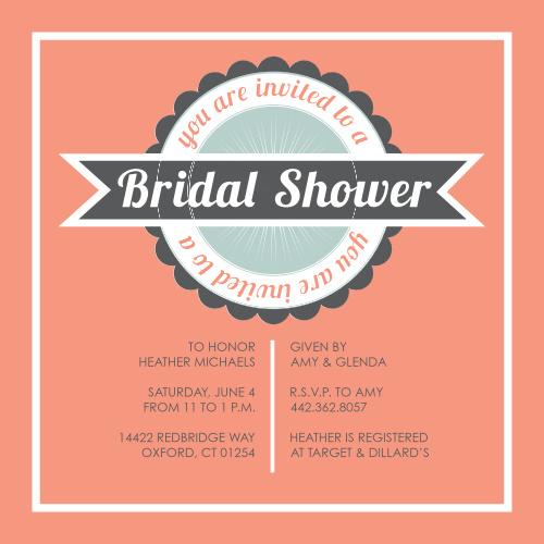 retro elegance bridal shower invitations
