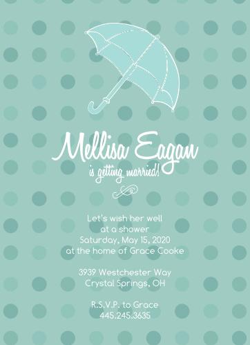 polka dot umbrella bridal shower invitations