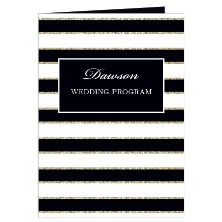 Elegant Gold Stripes Wedding Program