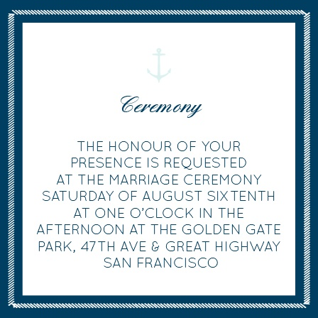 Nautical Anchor Ceremony Cards