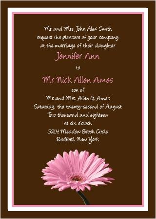Classic Gerber Daisy Wedding Invitation