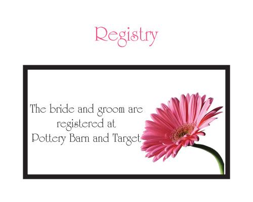 Elegant Gerber Daisy Registry Cards