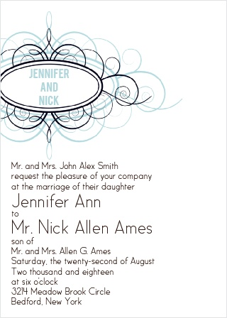 Ornamental Badge Wedding Invitation