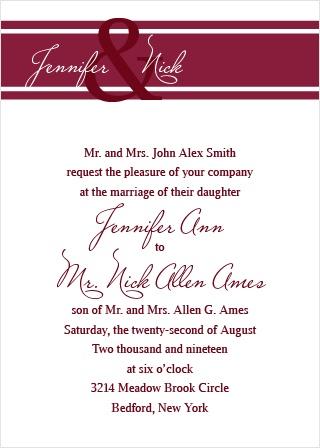 Traditionally Formal Wedding Invitation