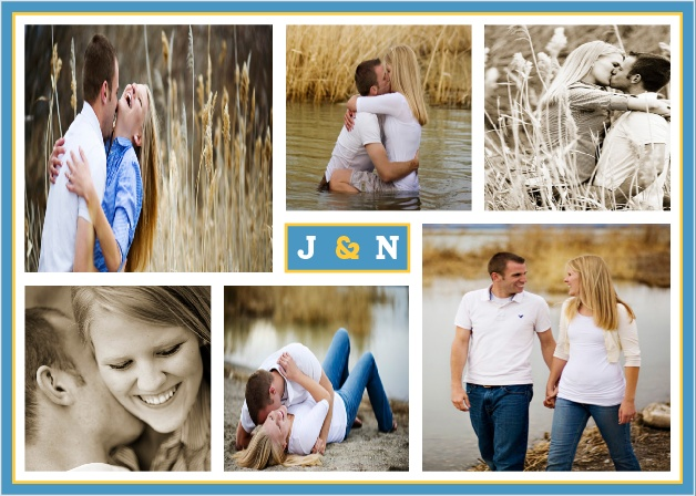 the modern photo collage wedding invitations by basic invite