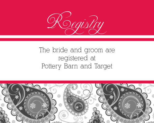 Precious Paisley Registry Cards