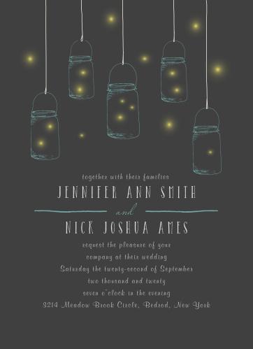Mason Jars & Fireflies Wedding Invitations