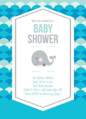 Whale Baby Shower Invitations Match Your Color Style Free