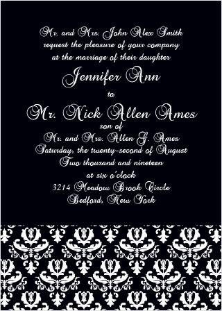 Timeless Damask Wedding Invitation