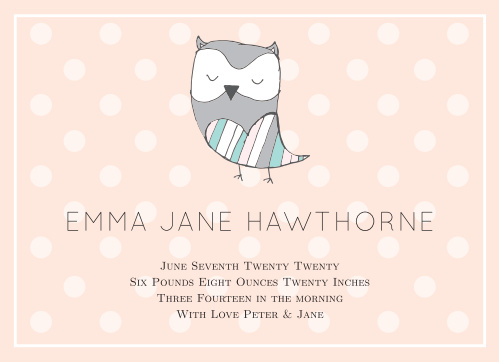 Silent Owl Birth Announcements
