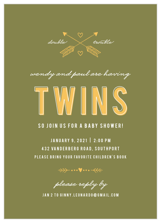 Arrow Baby Shower Invitations - Match Your Color & Style Free!