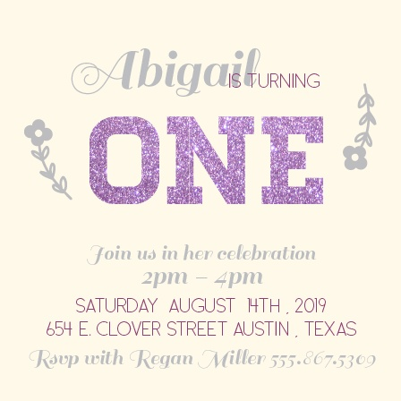Glittered First Birthday Invitation