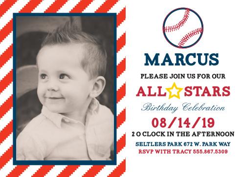 All Star Baseball First Birthday Invitations