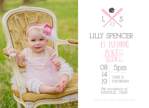 Baseball Monogram First Birthday Invitations