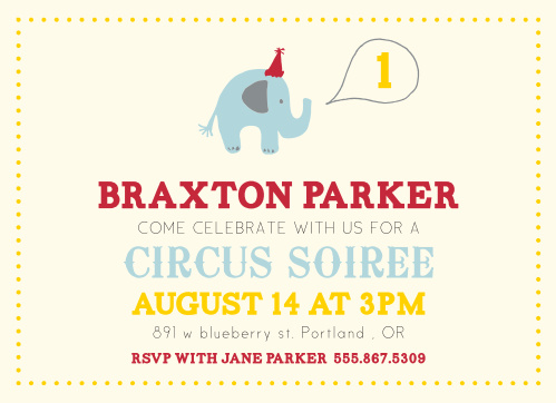 Party Elephant First Birthday Invitations