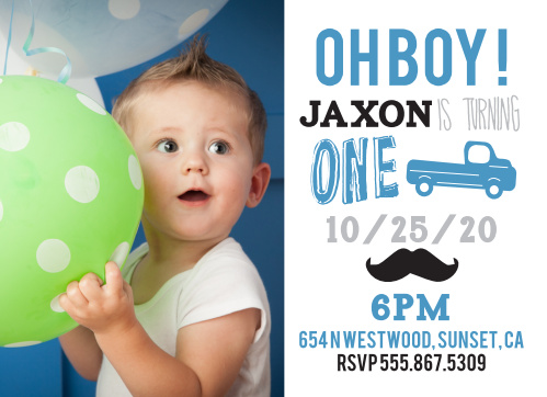 Truck Mustache First Birthday Invitations