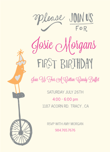 Unicycle First Birthday Invitations