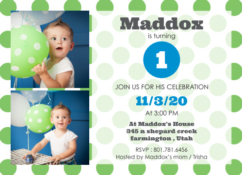 Polka Dotted First Birthday Invitations
