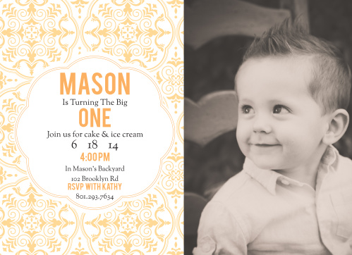 Medallion First Birthday Invitations