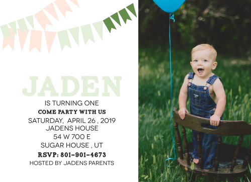 Pennant Birthday First Invitations