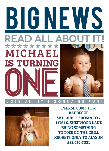 Newspaper First Birthday Invitations