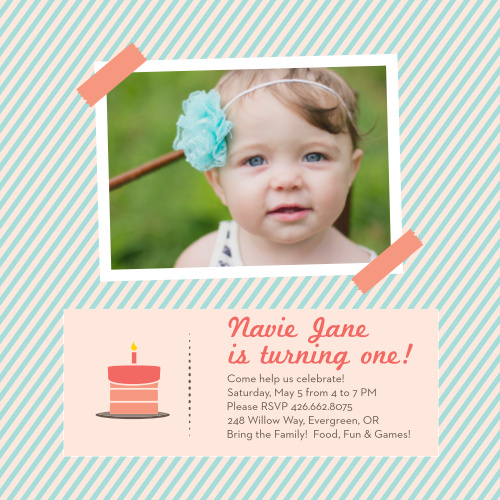 Photo Album First Birthday Invitations