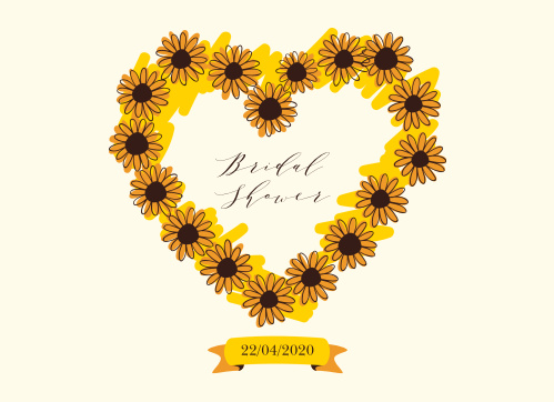 sunflower wreath bridal shower invitations