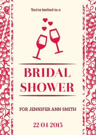 grapes wine bridal shower invitation