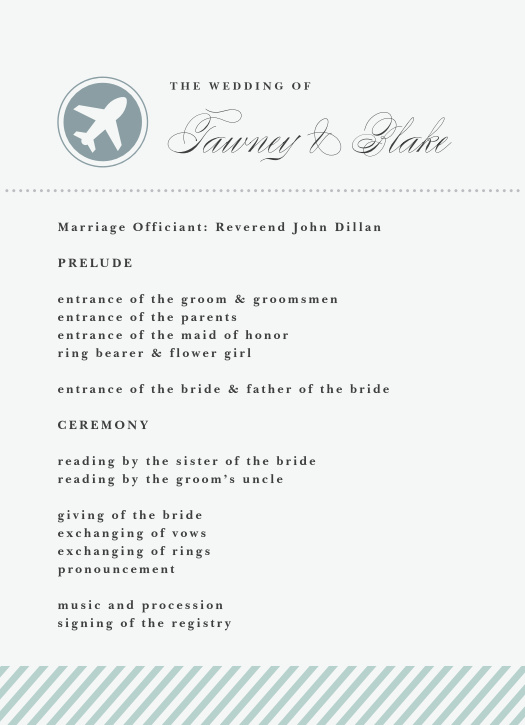Boarding Pass Wedding Programs