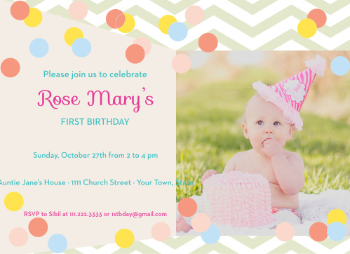 Baby Dots First Birthday Invitations