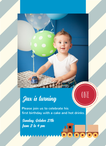 Train Set First Birthday Invitations