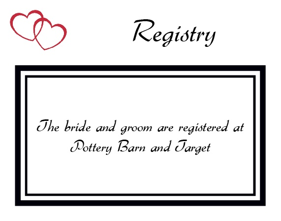 The Double Hearts Registry Cards